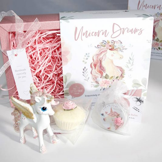 Unicorn Gift Set with Cupcake Bath Bomb, Lip Balm and decorative Glitter Unicorn Figure
