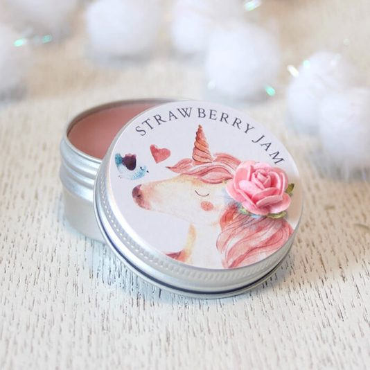 Beautiful Unicorn Lip Balm Gift Strawberry Jam Flavour Stocking Filler