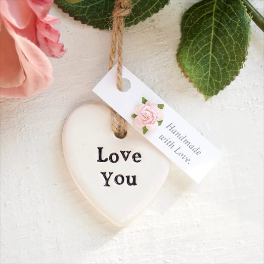 Handmade Love You Keepsake Heart Valentines Token Gift