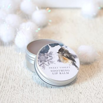 Woodland bird Winter Wonderland Christmas Parma Violet Lip Balm Natural