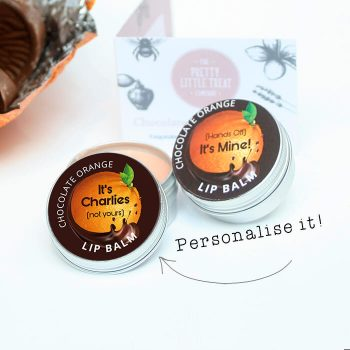 Personalised Chocolate Orange Lip Balm Unusual gift Little Treat